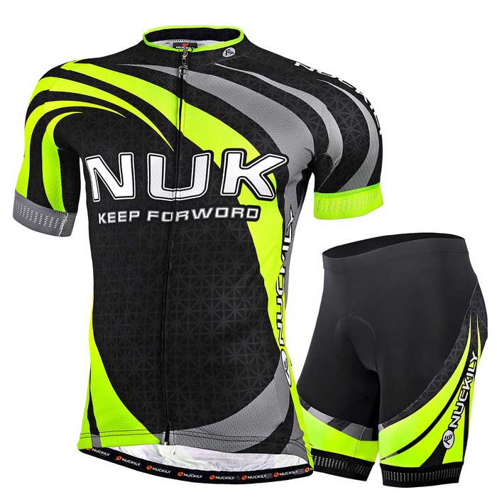 NUCKILY Professional Men's Cycling Shirts Jersey + Shorts - Green (XL)