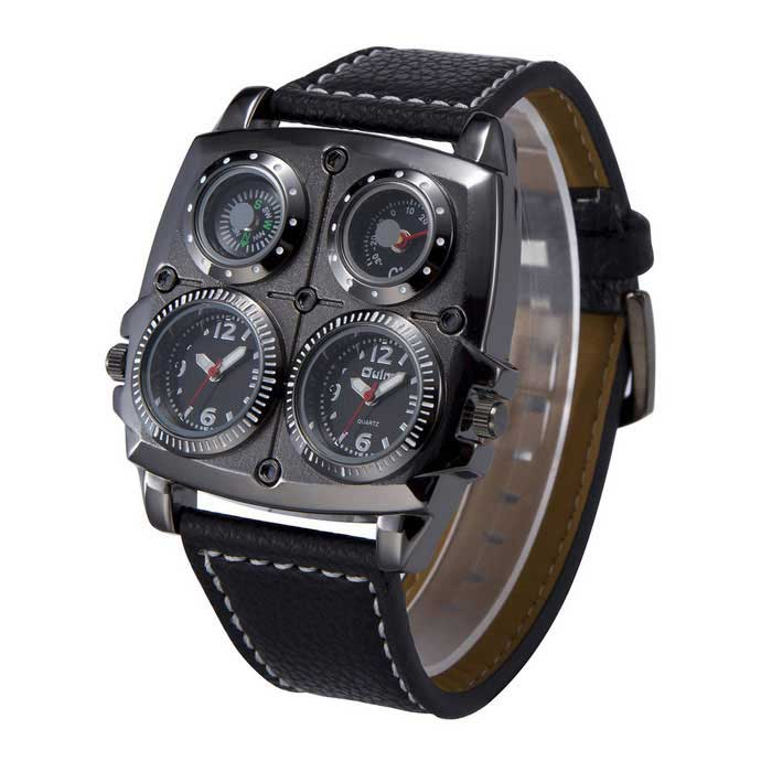 Oulm Sports Dual Time Zone Compass Thermometer Decoration Watch