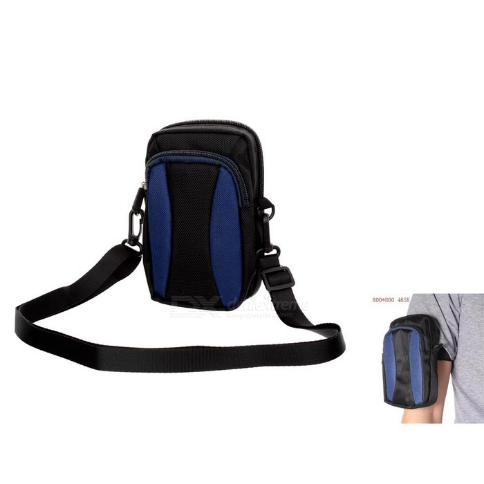 "Casual 5"" Nylon Mountaineering Bag w / Strap - Svart + Safir Blue"