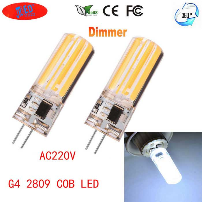 JRLED G4 Dimmable 6W 80-COB LED Cold White Light Ceramic Bulbs (2PCS)G4<br>Color BINCool WhiteMaterialTransparent silicone +LEDForm  ColorWhite + Yellow + Multi-ColoredQuantity2 DX.PCM.Model.AttributeModel.UnitPower6WRated VoltageAC 220 DX.PCM.Model.AttributeModel.UnitConnector TypeG4Chip BrandOthers,-Chip TypeN/AEmitter TypeCOBTotal Emitters80Theoretical Lumens800 DX.PCM.Model.AttributeModel.UnitActual Lumens700 DX.PCM.Model.AttributeModel.UnitColor Temperature6500KDimmableYesBeam Angle360 DX.PCM.Model.AttributeModel.UnitWavelengthN/ACertificationCE ROHSOther FeaturesThis product uses two glass panel, and the 80 chips upside down in the transparent glass panel, so that the luminous effect is better, longer life, more than 1.5 times the same power LED lights. The foot for ceramic insulation foot, use more safety.Packing List2 * G4 220V COB LED lights<br>