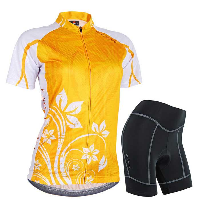 NUCKILY Cycling Short-Sleeve Jersey + Short Pants - Orange (XL)