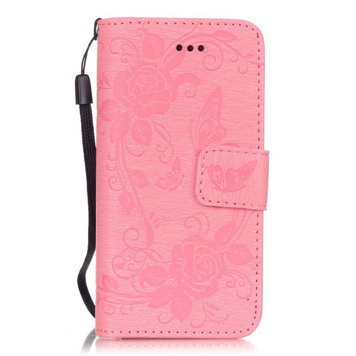 BLCR Butterfly Pattern PU + TPU Wallet Case for IPHONE SE/5S/ 5 - PinkLeather Cases<br>Form  ColorPinkModelN/AQuantity1 DX.PCM.Model.AttributeModel.UnitMaterialPU + TPUCompatible ModelsIPHONE 5S,IPHONE 5,Others,IPHONE SEStyleFlip OpenDesignSolid Color,Graphic,With Stand,Card Slot,With StrapAuto Wake-up / SleepNoPacking List1 * Case1 * Strap<br>