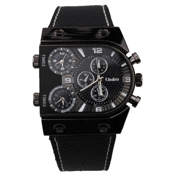 Oulm Mens Casual Leather Strap Three Time Zones Quartz Watch - BlackQuartz Watches<br>Form  ColorBlackModelHP9315Quantity1 DX.PCM.Model.AttributeModel.UnitShade Of ColorBlackCasing MaterialAlloyWristband MaterialLeatherSuitable forAdultsGenderMenStyleWrist WatchTypeFashion watchesDisplayAnalogMovementQuartzDisplay Format12 hour formatWater ResistantFor daily wear. Suitable for everyday use. Wearable while water is being splashed but not under any pressure.Dial Diameter4.9 DX.PCM.Model.AttributeModel.UnitDial Thickness1.3 DX.PCM.Model.AttributeModel.UnitWristband Length25 DX.PCM.Model.AttributeModel.UnitBand Width2.7 DX.PCM.Model.AttributeModel.UnitBattery377A/1PCSPacking List1 * Watch<br>