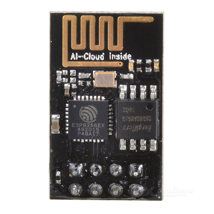 CJMCU-8266 ESP8266 WiFi Serial Port ModuleTransmitters &amp; Receivers Module<br>Form  ColorBlackModelESP8266Quantity1 DX.PCM.Model.AttributeModel.UnitMaterialCopper clad + componentsFrequency+19.5dBWorking Voltage   3~5 DX.PCM.Model.AttributeModel.UnitWorking CurrentEnglish Manual / SpecYesPacking List1 x Module<br>
