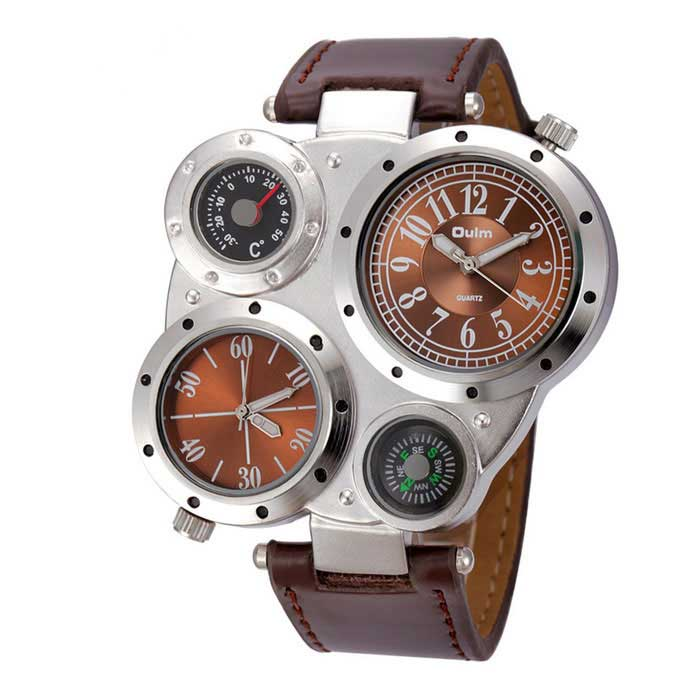 Oulm Men's Round Dial Dual Movements Leather Strap Watch