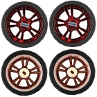 65mm Smart Car Model Puettavat kumi Pyörät TT Motor - Red (4PCS)