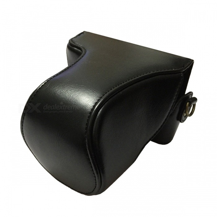 Crazy Horse Leather Camera Case Bag for Canon EOS M10 - Black