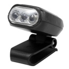 mini faro clip di cappello luce w / 3 luminosità LED - nero