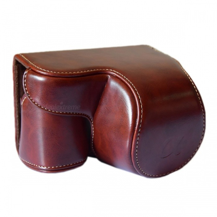 Buy Crazy Horse Leather Camera Case Bag for Sony A6000 / A6300 - Coffee with Litecoins with Free Shipping on Gipsybee.com