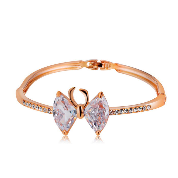 Xinguang Woman's Crystal Bowknot Cute Fashion Bracelet - Rose Gold