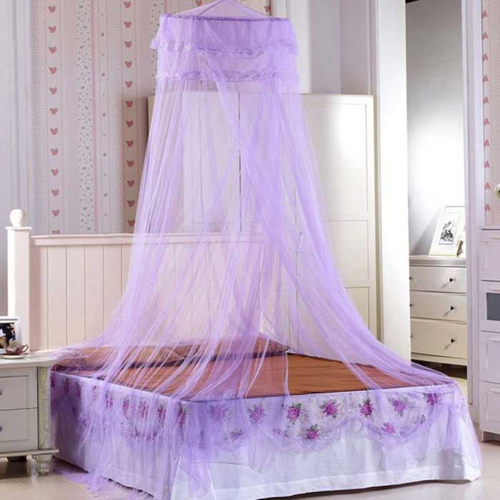 Dome Ceiling Mosquito Net / Bed Curtain - PurpleForm  ColorPurpleQuantity1 DX.PCM.Model.AttributeModel.UnitMaterialPolyesterTypeOthersOther FeaturesSuitable for 1.2 * 2m, 1.5 * 2m and 1.8 * 2m beds.Packing List1 * Mosquito net<br>