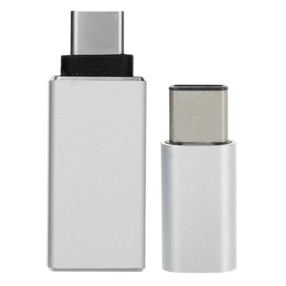 USB 3.1 Type-C to Micro USB + 3.0 OTG Adapter - Silver