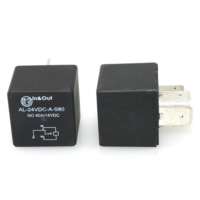 IZTOSS 80A/24V 4-Pin Car Auto Power Relay Switch SPDT for Car - BlackOther Gadgets<br>Form  ColorBlackModelAP227-24VQuantity1 DX.PCM.Model.AttributeModel.UnitMaterialElectronic components + plasticShade Of ColorBlackPower1.8 DX.PCM.Model.AttributeModel.UnitCurrent80 DX.PCM.Model.AttributeModel.UnitPower SupplyDCOther Features1.Electric shock form: 1A, often open; <br>2.Coil parameters: voltage DC: 24V; <br>3.Ambient temperature: -40C to 85CPacking List1 * 80A/24V Car Power Relay<br>