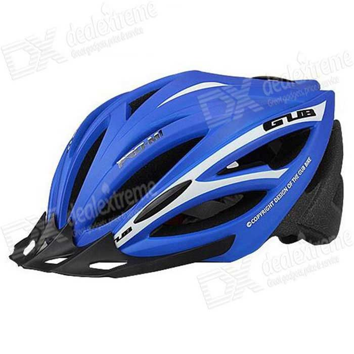 GUB M1 Integrated Mountain Bike Riding HelmetHelmets<br>Form  ColorBlue + WhiteSizeLModelM1Quantity1 DX.PCM.Model.AttributeModel.UnitMaterialPC + EPSShade Of ColorBlueBest UseCycling,Mountain Cycling,Recreational Cycling,Road Cycling,Bike commuting &amp; touringHead Circumference55~61 DX.PCM.Model.AttributeModel.UnitGenderUnisexSuitable forAdultsOther FeaturesHole number: 21<br>Density: 95g/LPacking List1 * Helmet1 * Cap brim<br>