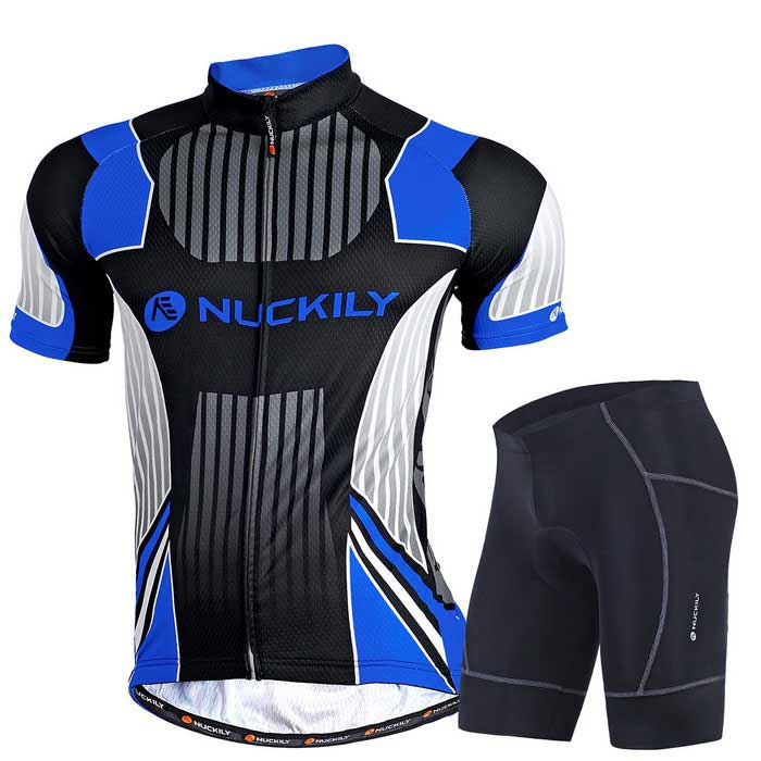 NUCKILY Mens Cycling Short-Sleeves Jersey + Short Pants Set - BlueForm  ColorBlueSizeXXLModelMG002+NS361Quantity1 DX.PCM.Model.AttributeModel.UnitMaterial100%polyesterGenderMensSeasonsSpring and SummerShoulder Width50 DX.PCM.Model.AttributeModel.UnitChest Girth117 DX.PCM.Model.AttributeModel.UnitSleeve Length38 DX.PCM.Model.AttributeModel.UnitTotal Length74 DX.PCM.Model.AttributeModel.UnitWaist70 DX.PCM.Model.AttributeModel.UnitTotal Length44 DX.PCM.Model.AttributeModel.UnitSuitable for Height178-185 DX.PCM.Model.AttributeModel.UnitBest UseCycling,Mountain Cycling,Recreational Cycling,Road Cycling,TriathlonSuitable forAdultsTypeShort Pants,Short JerseysPacking List1*set of bicycle clothing<br>