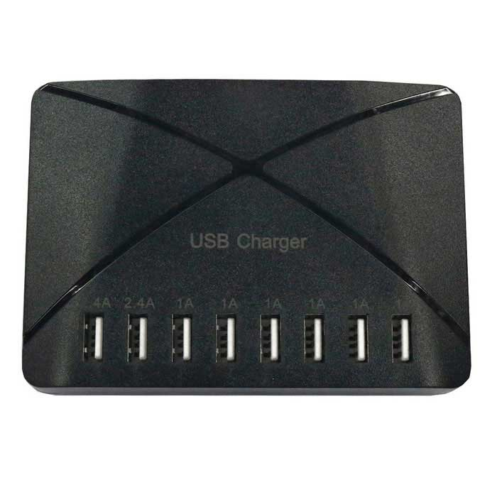 50W 100-240V 8-USB 8A US Plugs Charging USB Socket - Black