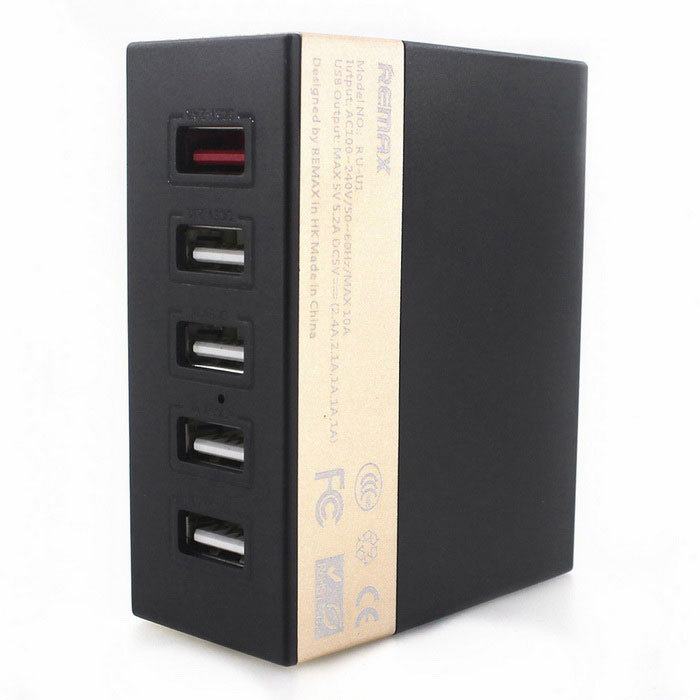 REMAX 1A / 2.1A / 2.4A 5 Ports USB Charger - Black (US Plugs)