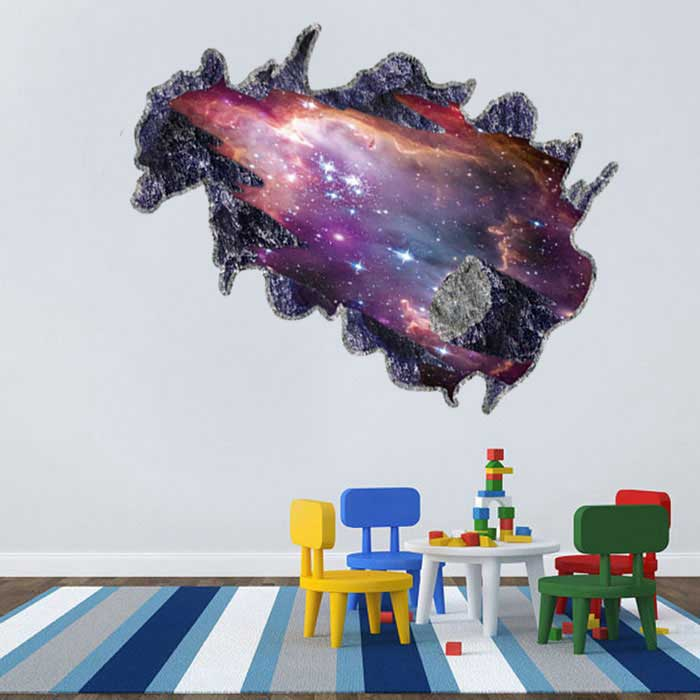 Removable DIY 3D Galactic Space Decorative Wall Sticker - Purple