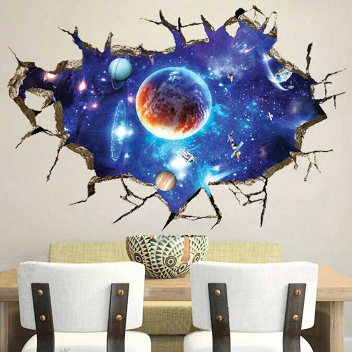 870b04f1c Removable DIY 3D Galactic Space Decorative Wall Sticker - Blue ...