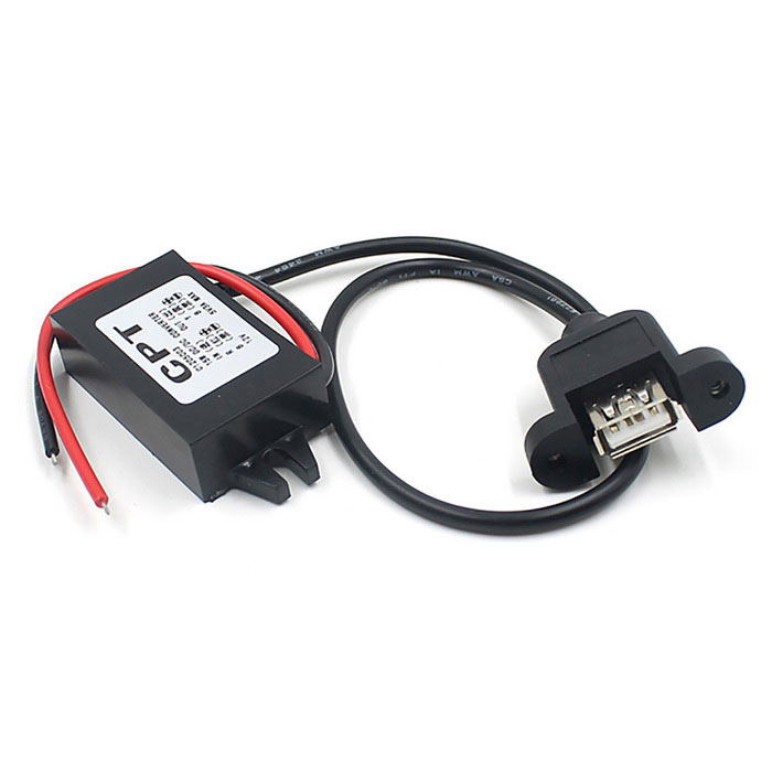 12V to 5V USB Car Power DC-DC Buck Converter Module - BlackOthers<br>Form ColorBlackModelCS-198A1Quantity1 DX.PCM.Model.AttributeModel.UnitMaterialPlasticWaterproof FunctionYesInterfaceOthers,-Other Features1. Input voltage: 12V; <br>2.Output voltage:. 5V; <br>3.output current:. 3A; <br>4. Power: 15W; <br>5. Output interface: USB interfacePacking List1 * Car Power Adapter<br>