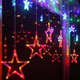Christmas-Decorative-138-LEDs-Colorful-PinkCold-White-Star-Lights-3m(W)-*-1m(H)