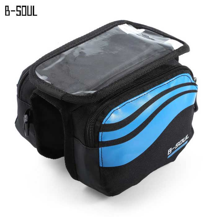 B-SOUL YA0205 Bicycle Front Tube Bag for 5.7 Phone - Light Blue (1L)Bike Bags<br>Form  ColorLight BlueModelYA0205Quantity1 DX.PCM.Model.AttributeModel.UnitMaterialPolyesterTypeOthers,Front Tube BagCapacity1 DX.PCM.Model.AttributeModel.UnitWaterproofNoGenderUnisexBest UseCycling,Mountain Cycling,Recreational Cycling,Road Cycling,Bike commuting &amp; touringPacking List1 * B - SOUL Bicycle Front Tube Bag<br>