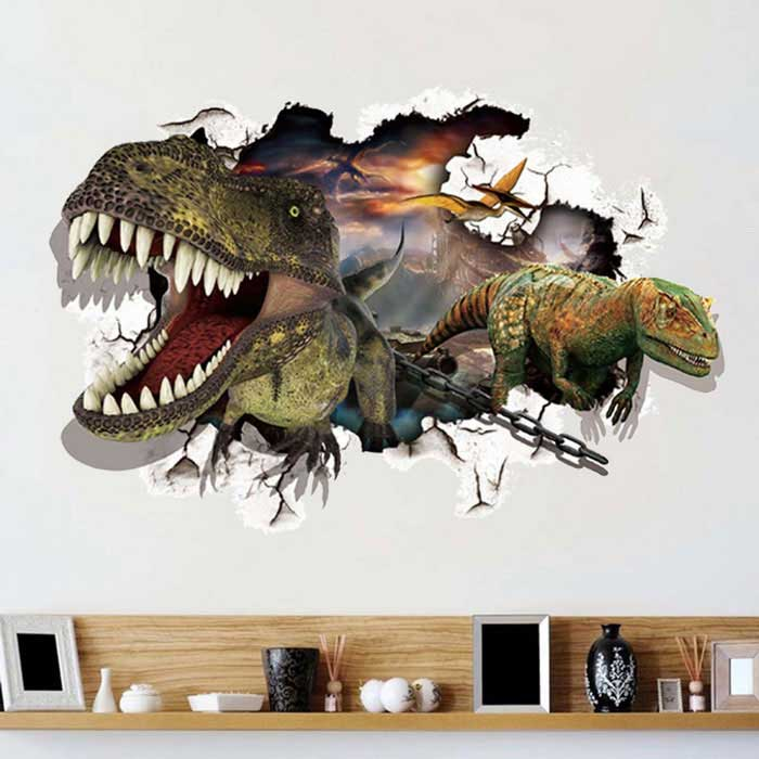 Removable DIY 3D Dinosaur Wall Decorative Wall Sticker - LeopardWall Sticker <br>Form Colorleopard print+  MulticolorShade Of ColorYellowMaterialPVCQuantity1 DX.PCM.Model.AttributeModel.UnitStyleContemporaryDimension60*90 DX.PCM.Model.AttributeModel.UnitPacking List1 * Wall Sticker<br>
