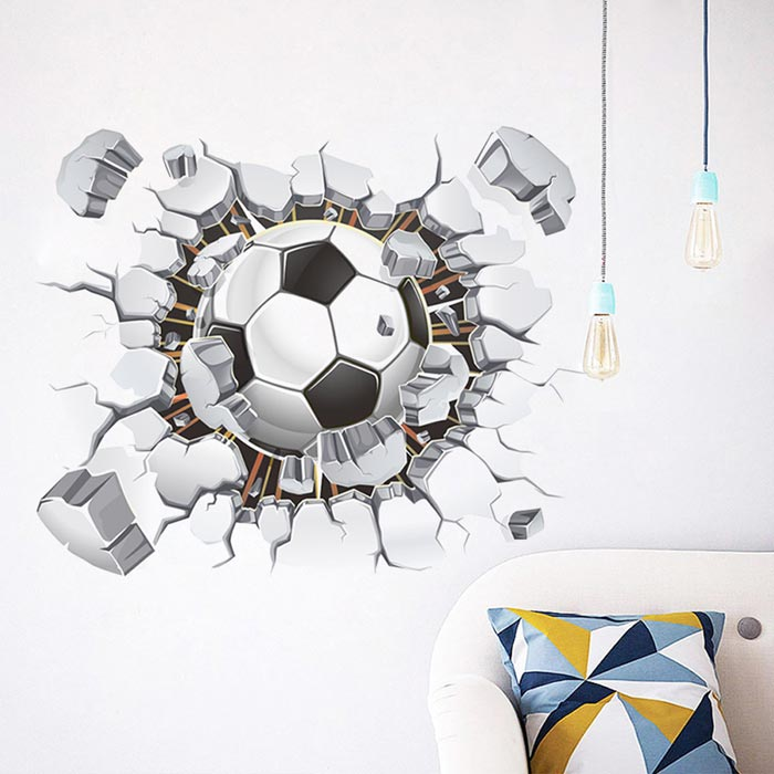 Removable Decorative Wall Stickers DIY 3D Football - White + BlackWall Sticker <br>Form  ColorWhite + Black + Multi-ColoredShade Of ColorWhiteMaterialPVCQuantity1 DX.PCM.Model.AttributeModel.UnitStyleContemporaryDimension40 * 50 DX.PCM.Model.AttributeModel.UnitPacking List1 * Wall Sticker<br>