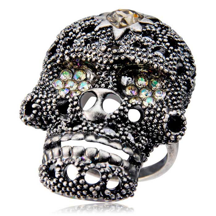 Xinguang Women's Retro Guardian Soul Skull Crystal Decorated Ring