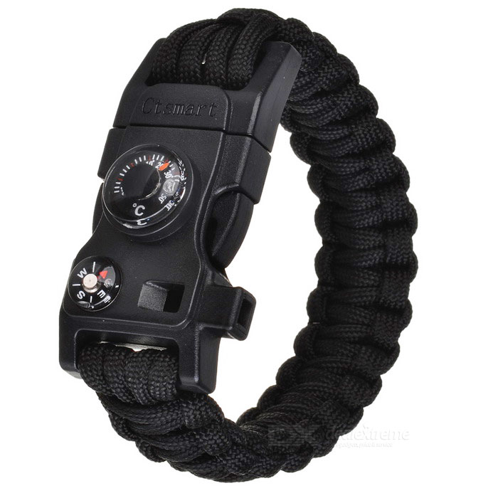 CTSmart Outdoor Multifunctional Survival Paracord Bracelet - BlackFire Starting Gear<br>Form ColorBlackQuantity1 DX.PCM.Model.AttributeModel.UnitMaterial550 tension parachute cord + ABSBest UseBackpacking,Camping,Mountaineering,TravelPacking List1 * Bracelet<br>