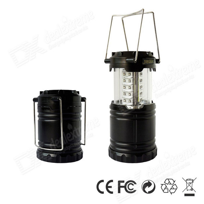 Joyshine 30-LED Portable Camping Collapsible Lantern Night Light LampOutdoor Lantern<br>Form  ColorBlackModelCL-10Quantity1 DX.PCM.Model.AttributeModel.UnitMaterialABSEmitter BINLEDNumber of EmittersOthers,30Color BINNeutral WhiteBattery TypeAABattery Number3Battery included or notNoNumber of Modes1Actual Lumens100 DX.PCM.Model.AttributeModel.UnitLantern TypeElectricBest UseFamily &amp; car camping,Backpacking,Camping,Mountaineering,Travel,FishingPacking List1 * Collapsible Camp Lamp1 * Manual<br>