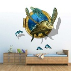 Removable DIY 3D Sea Turtles Decorative Wall Stickers - Blue