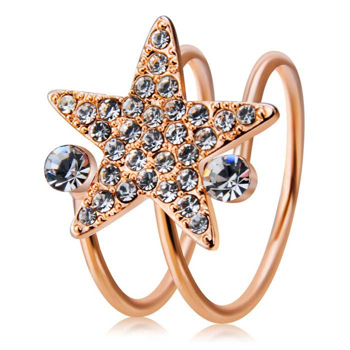 Xinguang Women's Lucky Star Crystal Ring - Rose Gold (US Size 6)