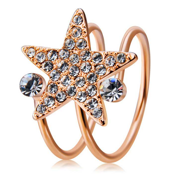Xinguang Women's Lucky Star Crystal Ring - Rose Gold (US Size )
