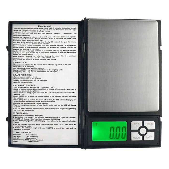 MH-1108 500g/0.01g Notebook Style Precision Electronic ScaleDigital Scales<br>Form  Color**ModelMH-1108Quantity1 DX.PCM.Model.AttributeModel.UnitMaterialStainless steel + ABS plasticTypeJewelry ScaleScreen Size1.9 inchesMax. Weight500gMin. Weight0.01gUnitg,ct,oz,dwt,gnDivision0.01gOperating Temperature0~35CAuto Power OffYesPowered ByAAA BatteryBattery Number2Battery included or notNoPacking List1 * Scale1 * Chinese / English user manual<br>