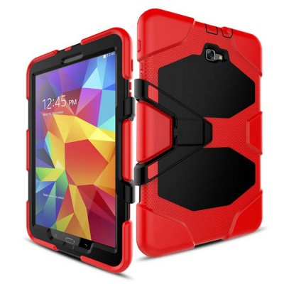 Stand Heavy Duty Hard Back Case for Samsung T580 - Red