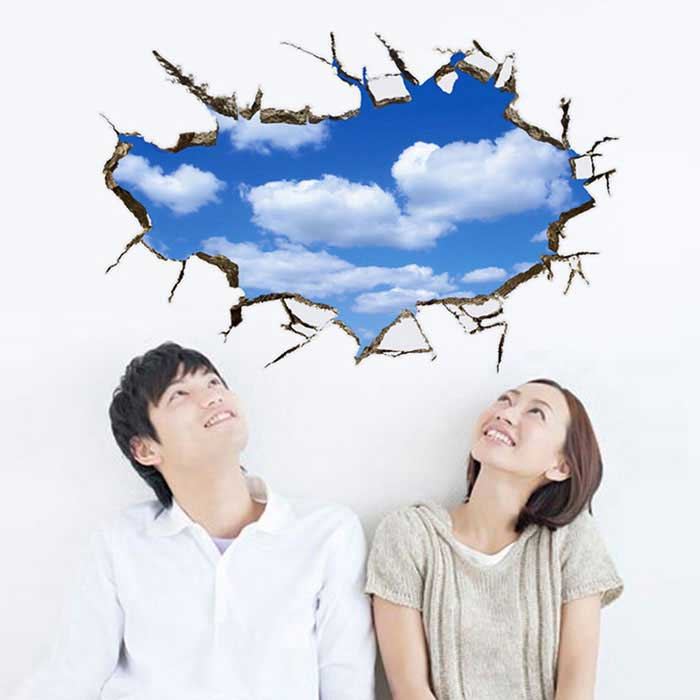 Removable DIY 3D Blue Sky And Clouds Decorative Wall Sticker - Blue