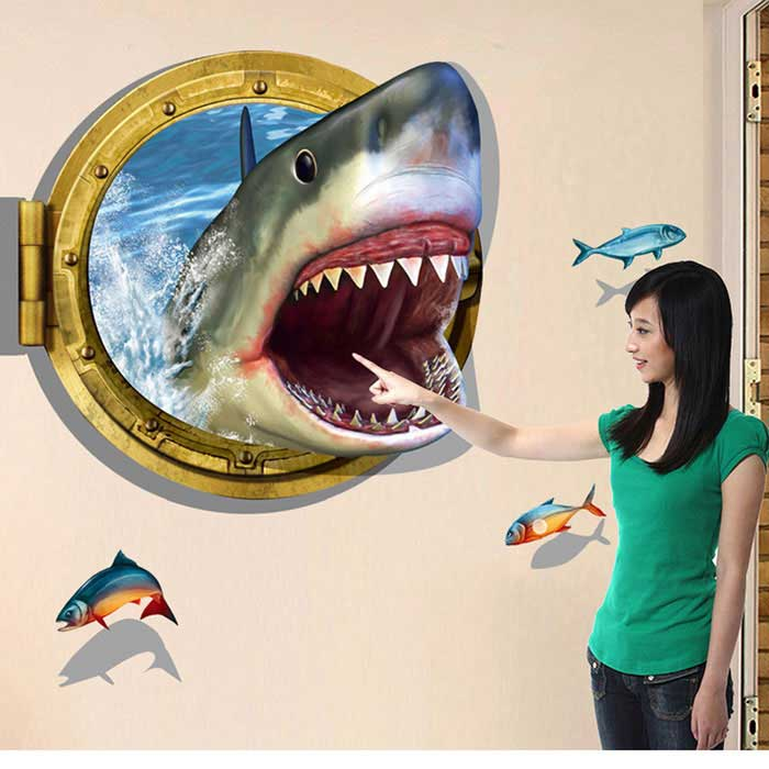 Removable DIY 3D Shark Personalized Decorative Wall Sticker - BlueWall Sticker <br>Form  ColorBlue + Yellow + Multi-ColoredShade Of ColorBlueMaterialPVCQuantity1 DX.PCM.Model.AttributeModel.UnitStyleContemporaryDimension60*90 DX.PCM.Model.AttributeModel.UnitPacking List1 * Wall sticker<br>