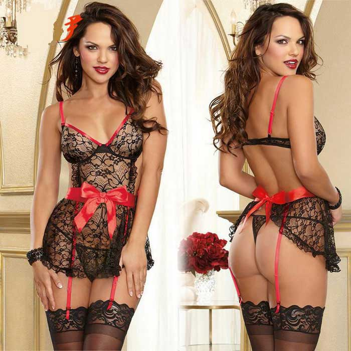 Europe Style Sexy Perspective Lace Bow Sling Nightdress - Black + Red