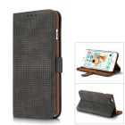 Mesh Protective PC + PU Wallet Cover Case for IPHONE 6S / 6 - Black