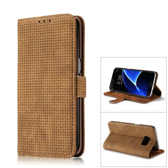Buy PC + PU Flip Wallet Cover Case for Samsung Galaxy S7 Edge - Brown with Litecoins with Free Shipping on Gipsybee.com