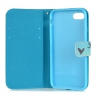 Protective Painting PU Full Body Case for IPHONE 7 - White + Blue