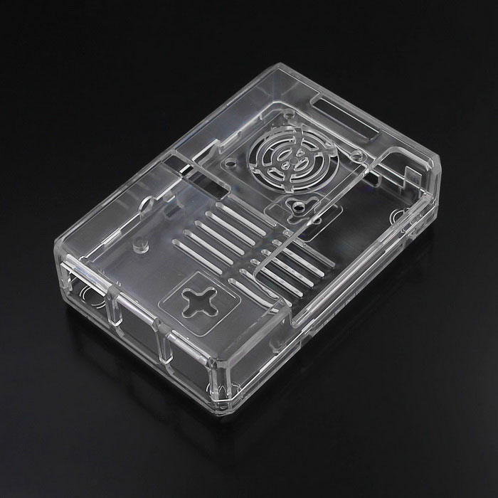 ABS Enclosure Case for Raspberry Pi 3B / 2B / B+ w/ Fan HoleRaspberry Pi<br>Form  ColorTransparentModelNoQuantity1 DX.PCM.Model.AttributeModel.UnitMaterialABSEnglish Manual / SpecNoPacking List1 * ABS Case 5 * Screws 4 * Rubber Feet Caps<br>