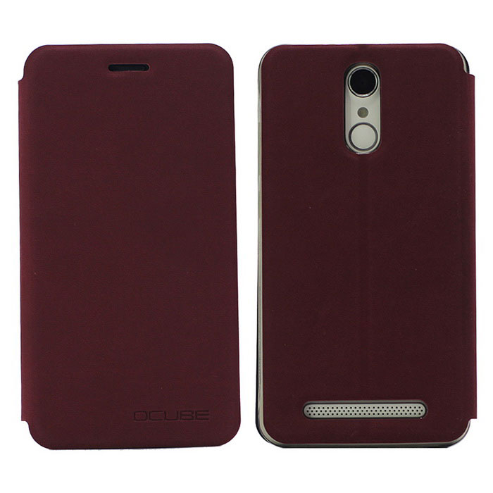 OCUBE PU Leather Case for Homtom HT17 Mobile Phone - Wine RedLeather Cases<br>Form  ColorClaret RedModel-MaterialPC + PUQuantity1 DX.PCM.Model.AttributeModel.UnitShade Of ColorRedCompatible ModelsHomtom HT17FeaturesDust-proof,Abrasion resistance,Holder functionPacking List1 * Case<br>