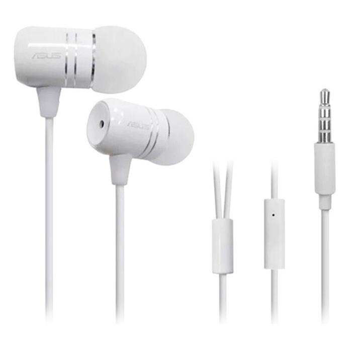 ASUS Wired In-Ear Headphone w/ Mic for ASUS Smart Phones - WhiteHeadphones<br>Form  ColorWhiteModel-MaterialMetal + siliconeQuantity1 DX.PCM.Model.AttributeModel.UnitTypeHeadphonesHeadphone StyleBilateral,In-EarConnection3.5mm WiredCompatible ModelsASUS smart phonesMicrophoneYesHeadphone Jack3.5mmSPL (Sound Pressure Level)Speaker size 8mmSensitivity102dB±3dBFrequency Response Range20Hz~20KHzImpedance16±15% DX.PCM.Model.AttributeModel.UnitCable Length108 DX.PCM.Model.AttributeModel.UnitCertificationRoHS, CE, FCCBrandASUSShade Of ColorWhiteBluetooth VersionNoWaterproof LevelIPX0 (Not Protected)Applicable ProductsOthers,ASUS Smart PhonesHeadphone FeaturesPhone Control,Volume Control,With Microphone,PortableSupports MusicYesSupport Memory CardNoSupport Apt-XNoPacking List1 * Headphone1 * Earphone bag<br>