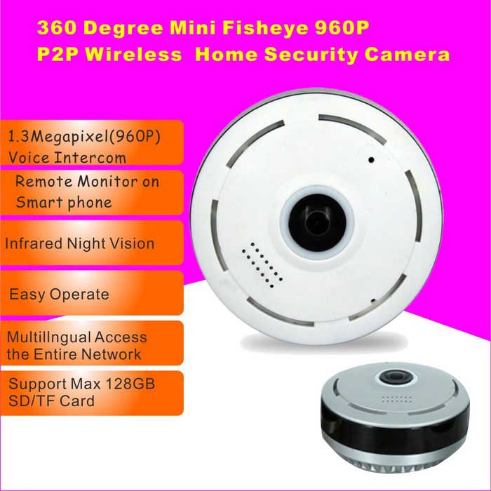 960P Cylindric Network HD 360' Fisheye P2P Wi-Fi IP Camera (UK Plug)
