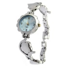 Women's Plum Blossom Shape Strap Bracelet Watch - Silver + Light Blue