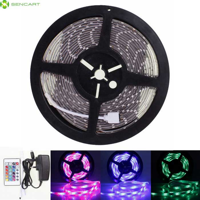 SENCART 5M RGB 5630 SMD LED Light Strip + 24 Key RF/ UK Adapter5630 SMD Strips<br>Color BINRGB 24-Key Remote Controller + UK Adapter MaterialPCB + LEDForm  ColorTransparent + White + Multi-ColoredQuantity1 DX.PCM.Model.AttributeModel.UnitPower24WRated VoltageDC 12 DX.PCM.Model.AttributeModel.UnitChip BrandOthers,-Emitter Type5630 SMD LEDTotal Emitters300WavelengthGreen: 490-560nm Blue: 450-490nm Red: 635-700nmTheoretical Lumens12000 DX.PCM.Model.AttributeModel.UnitActual Lumens5000 DX.PCM.Model.AttributeModel.UnitPower AdapterUK PlugCertificationCE RoHSOther FeaturesWaterproof IP68<br>Green: 490-560nm<br>Blue: 450-490nm<br>Red: 635-700nmPacking List1 * 5M RGB Flexible LED Light Strips1 * Remote control 1 * UK plug power adapter (AC 110~240V, 100cm cable)1 * RGC control box (10cm)<br>