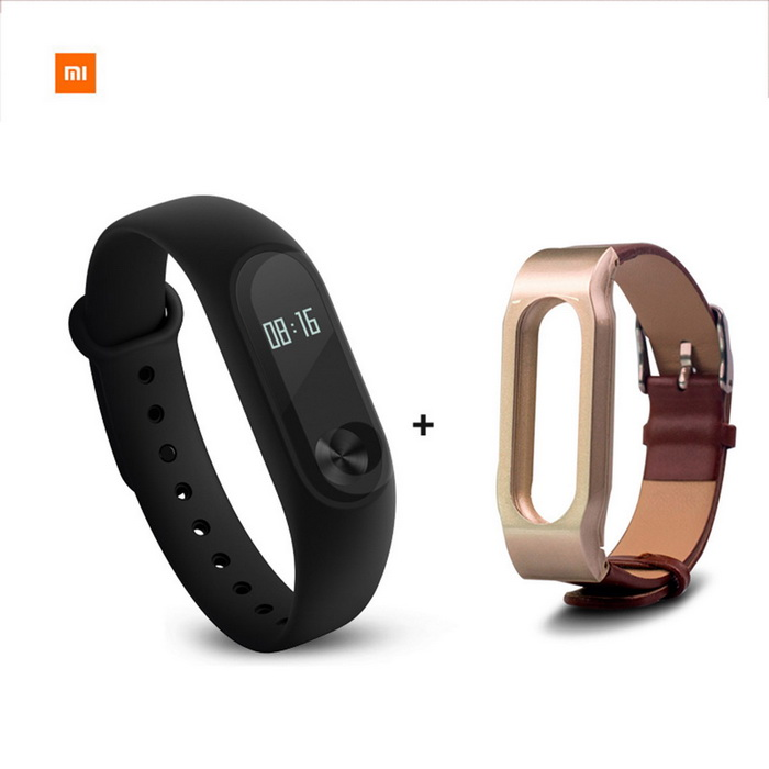 Xiaomi 0.42 OLED Touch Screen Mi Band 2 Smart Bracelet + Leather BandSmart Bracelets<br>Form  ColorBlack+Brown(Leather Strap)ModelXMSH04HMQuantity1 DX.PCM.Model.AttributeModel.UnitMaterialAluminum alloy, thermoplastic elastomerWater-proofIP67Bluetooth VersionBluetooth V4.0Touch Screen TypeYesOperating SystemAndroid 4.4,Android 4.4.1,Android 4.4.2,iOSCompatible OSSupport Bluetooth 4.4 Android 4 above system, iOS7.0 above systemBattery CapacityLithium polymer 70 DX.PCM.Model.AttributeModel.UnitBattery TypeLi-polymer batteryStandby Time20 DX.PCM.Model.AttributeModel.UnitOther Features0.42 OLED Display Touch Screen?Call reminder, Measurement of heart rate,Pedometer, Sleep management, SMS RemindingPacking List1 * Smart bracelet1 * Original Wristband1 * Charger cable(15CM)1 * Chinese user manual1 * Leather strap(OEM)<br>