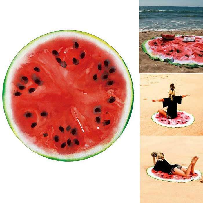 European / American Fashion Watermelon Printed Round Beach TowelSleeping Pad<br>Form  ColorRed + MulticoloredSizeOthersQuantity1 DX.PCM.Model.AttributeModel.UnitMaterialPolyesterPacking List1 * Beach Towel<br>